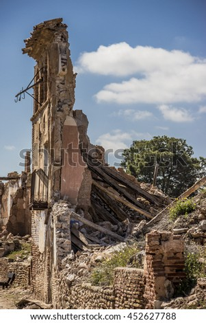 Belchite is an ancient town in Spain. Is known to have been the scene of one of the symbolic battles of the Spanish Civil War, the Battle of Belchite. Now it is abandoned.  - stock photo