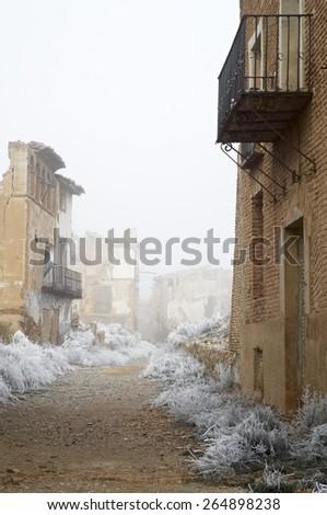 Belchite village destroyed in a bombing during the Spanish Civil War, Saragossa, Aragon, Spain. - stock photo