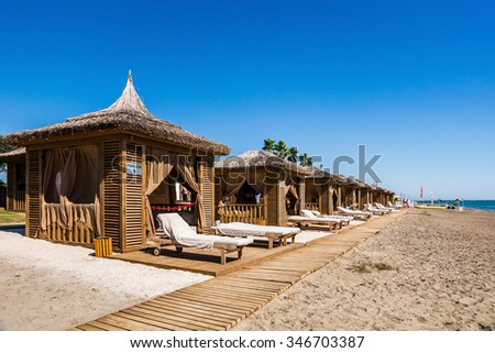 BELEK, TURKEY - Sept 30, 2014: The beach at luxury Alva Donna hotel