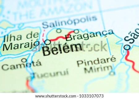 Belem Brazil On Map Stock Photo 1033107073 Shutterstock