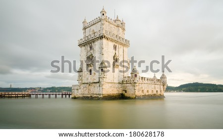 Belem tower at sunset - Lisbon, Portugal - stock photo