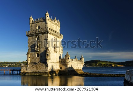 Belem Tower in sunset light, Lisbon, Portugal - stock photo