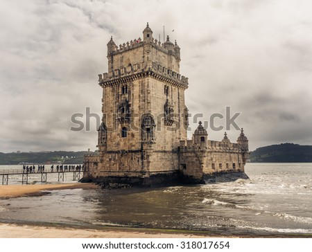Belem Tower is a fortified tower located in Lisbon, Portugal - stock photo