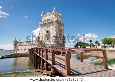 Belem Tower located on the Tagus River, Lisbon, Portugal - stock photo