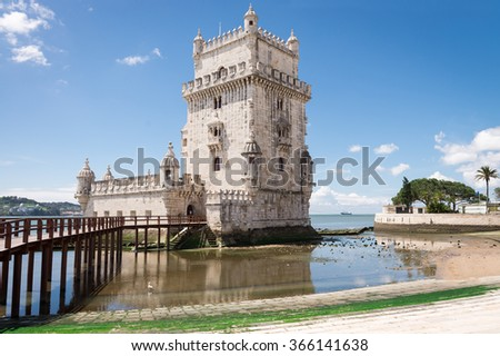 Belem Tower located on the Tagus River, Lisbon, Portugal