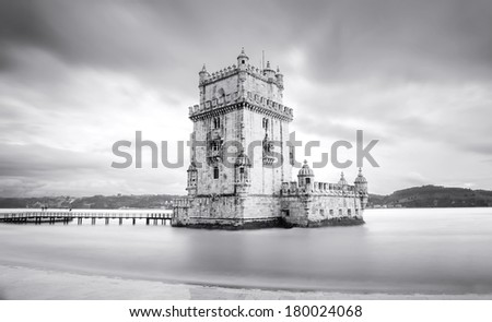Belem Tower on black and white, Lisbon, Portugal. Long exposure - stock photo
