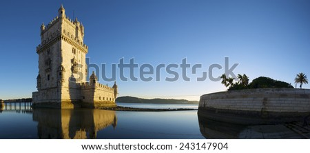 Belem Tower on Tagus river, Lisbon, Portugal. - stock photo