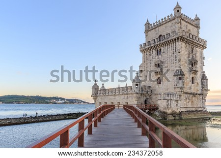 Belem Tower on the Tagus river city landmark in Lisbon, Portugal. - stock photo