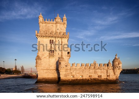 Belem Tower on the Tejo river at sunset, famous city landmark in Lisbon, Portugal.
