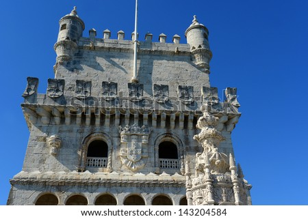 Belem Tower (Portuguese: Torre de Bel�©m) is  UNESCO World Heritage Site on the bank of Tejo River at Belem district, Lisbon, Portugal - stock photo
