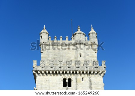 Belem Tower (Portuguese: Torre de Belem) is UNESCO World Heritage Site on the bank of Tejo River at Belem district, Lisbon, Portugal - stock photo