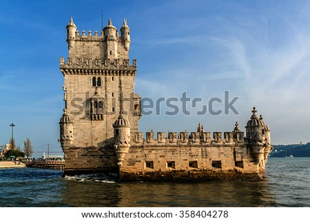 Belem Tower (Torre de Belem, 1519) - fortified tower located on Tagus River in civil parish of Santa Maria de Belem in Lisbon, Portugal. Belem Tower is a UNESCO World Heritage Site. - stock photo