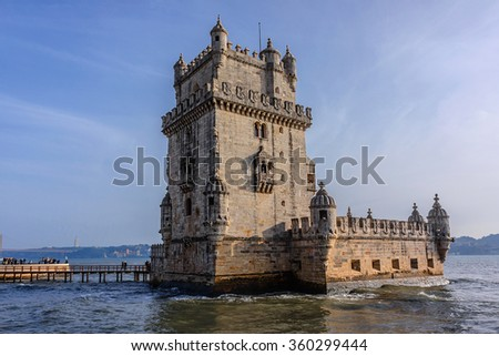 Belem Tower (Torre de Belem, 1519) - fortified tower located on Tagus River in civil parish of Santa Maria de Belem in Lisbon, Portugal. Belem Tower is a UNESCO World Heritage Site.