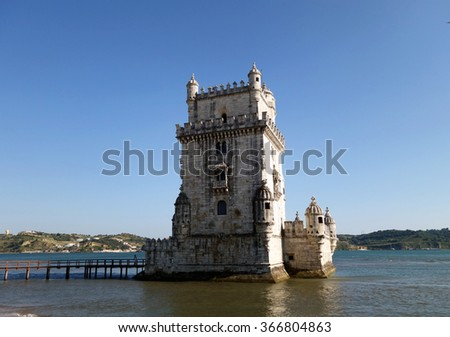 Belem watchtower in Lisbon captured during a sunny afternoon, Portugal