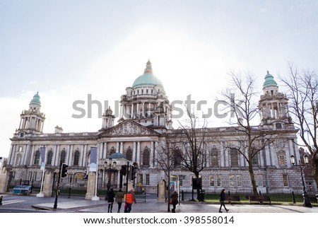 Belfast City Hall in backlight - stock photo