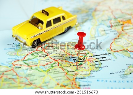 Belfast  Ireland  ,United Kingdom  map taxi  and  pin - Travel concept - stock photo