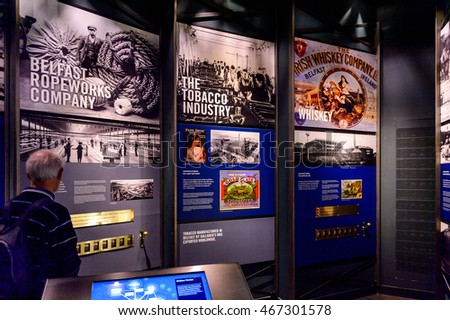 BELFAST, NI - JULY 14, 2016: Interior of the Titanic Belfast, visitor attraction dedicated to the RMS Tinanic, a ship whic sank by hitting an iceberg in 1912.