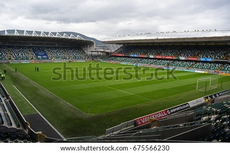 BELFAST, NORTHERN IRELAND - JUNE 28, 2017: National Football Stadium at Windsor Park pictured prior to the 2017/18 UEFA Champions League 1st Qualifying Round between Linfield FC and La Fiorita SP.