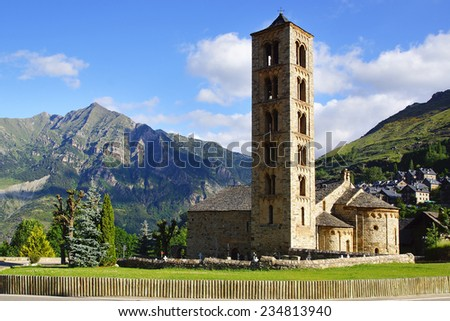 Belfry and church of Sant Climent de Taull, Catalonia, Spain. - stock photo