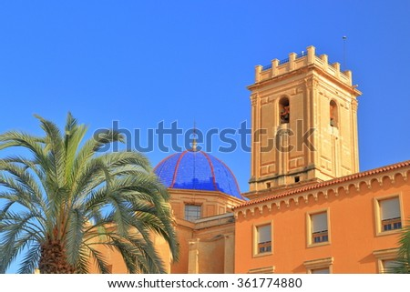 Belfry and cupola above Santa Maria Basilica in Elche, Alicante, Spain - stock photo