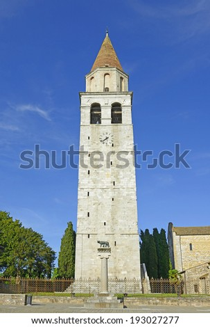 Belfry and Roman wolf at Basilica di Aquileia in Italy. UNESCO World Heritage Site