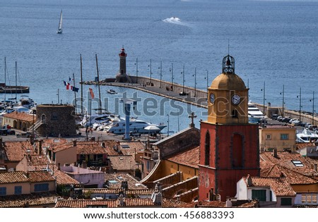Belfry and the port of Saint Tropez in France