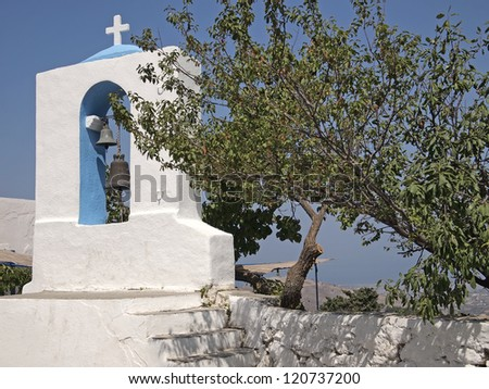 Belfry of church in Zia, Kos island, Greece - stock photo