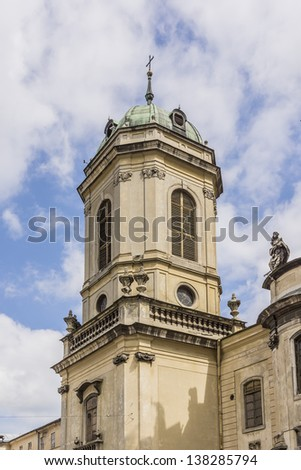 Belfry of Dominican Church. Dominican Church was created in 1749 in Lviv, Ukraine. Lviv - Capital of historical region of Galicia. Lviv historic city center is on UNESCO World Heritage List.