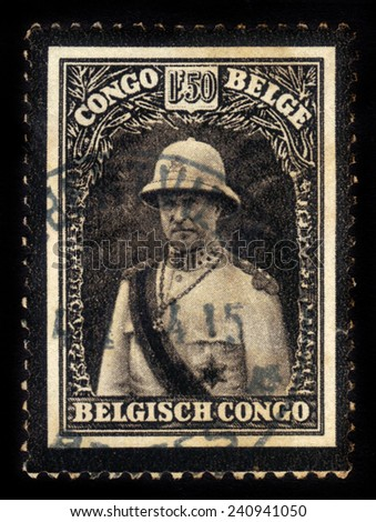 BELGIAN CONGO - CIRCA 1934: A stamp printed in Belgian Congo shows portrait of King Albert I in military costume, mourning stamp, circa 1934 - stock photo
