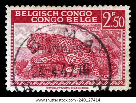 "Belgian Congo - CIRCA 1942: A stamp printed in Belgium shows leopard with the inscription ""Congo Belge Belgisch Congo"", circa 1942 - stock photo"