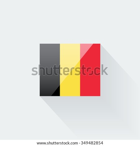 Belgian flag glossy icon. Correct proportions and color scheme. - stock photo