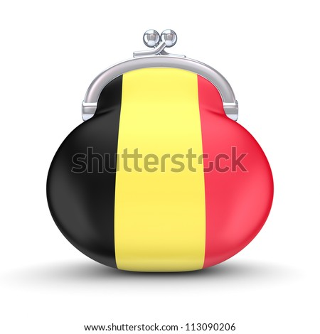 Belgian flag on a wallet.Isolated on white background.3d rendered.