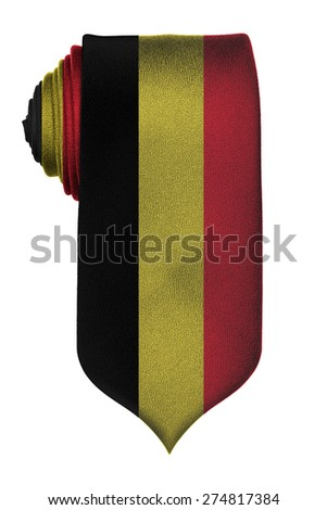 Belgian flag on rolled up tie isolated on white background - stock photo