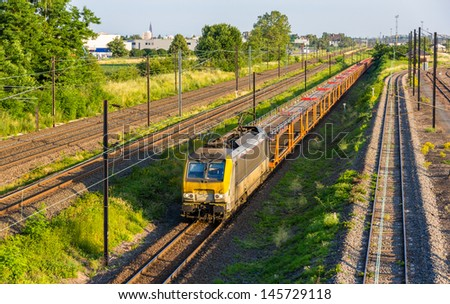 Belgian freight train in Strasbourg - Alsace, France - stock photo