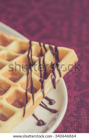 Belgian wafers with chocolate - stock photo
