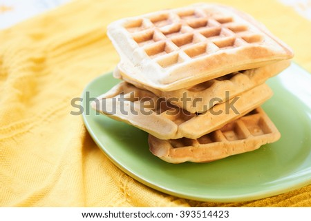 Belgian waffles on a plate
