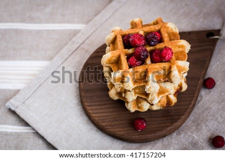 Belgian waffles with cranberries - stock photo