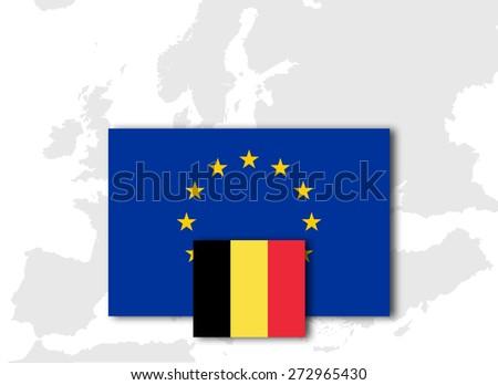 Belgium  and European Union Flag with Europe map background - stock photo