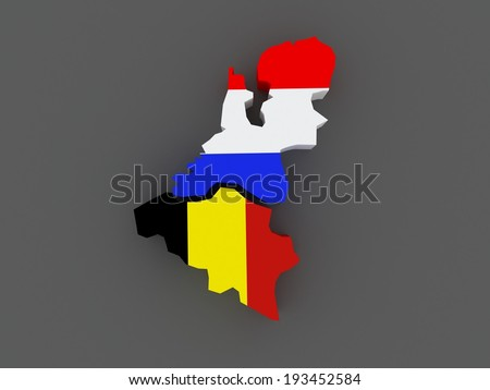 Belgium and the Netherlands. map. 3d - stock photo