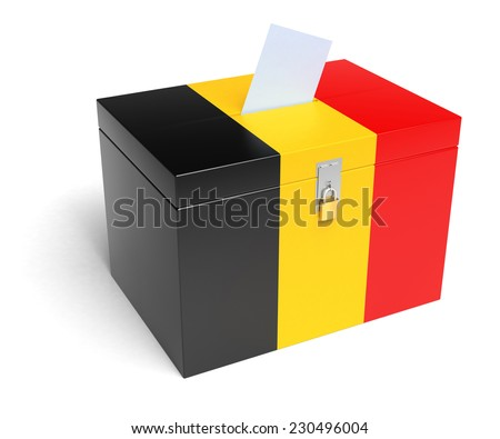 Belgium ballot box with Belgium Flag. Isolated on white background. - stock photo