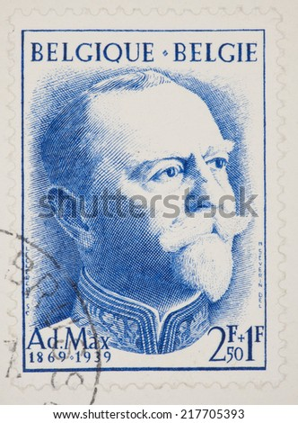 BELGIUM - CIRCA 1957: A Cancelled postage stamp from Belgium illustrating 18th Anniversary of the death of Adolphe Max.