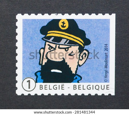 BELGIUM - CIRCA 2014: A postage stamp printed in Belgium showing an image of captain Haddock a Tintin cartoon character, circa 2014.  - stock photo