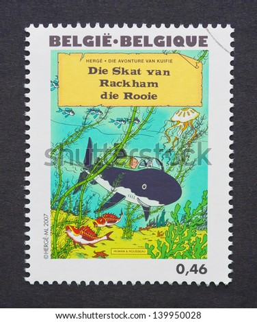 BELGIUM - CIRCA 2007: a postage stamp printed in Belgium showing an image of Tintin book Red Rackhams Treasure, circa 2007.