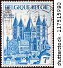 BELGIUM - CIRCA 1971: A stamp printed in Belgium issued for the 800th anniversary of Tournai Cathedral shows Tournai Cathedral, circa 1971. - stock photo