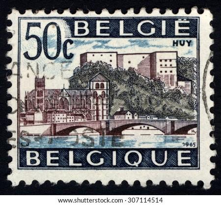 BELGIUM - CIRCA 1965: A stamp printed in Belgium, shows Huy, circa 1965 - stock photo