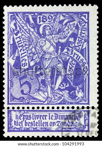BELGIUM - CIRCA 1897: A stamp printed in Belgium shows St. Michael & Satan, circa 1897