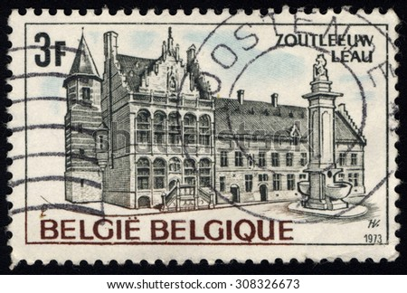 BELGIUM - CIRCA 1973: A stamp printed in Belgium shows Town Hall, Leau, circa 1973