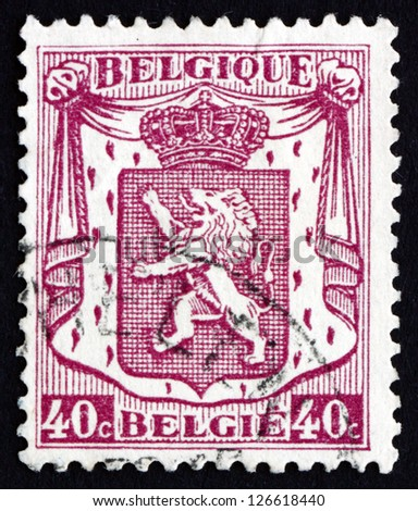 BELGIUM - CIRCA 1938: a stamp printed in the Belgium shows Coat of Arms of Belgium, circa 1938