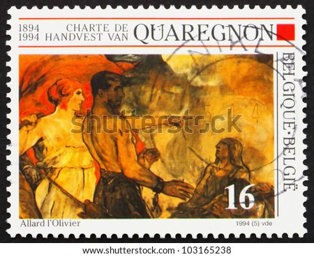 BELGIUM - CIRCA 1994: a stamp printed in the Belgium shows Fall of the Golden Calf, Detail of Painting by Fernand Allard lOlivier, circa 1994