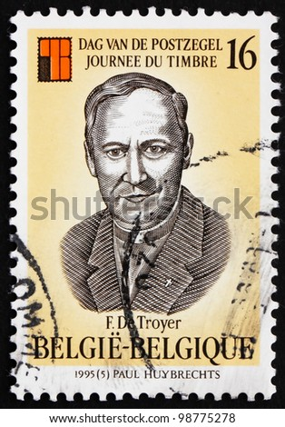 BELGIUM - CIRCA 1995: a stamp printed in the Belgium shows Frans de Troyer, Clergyman, Philatelic Collector, circa 1995